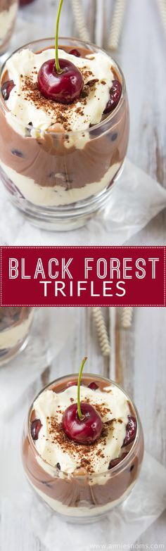 Looking for good comfort food?  This quick recipe for Black Forest Trifles will be a hit in your family.  Easy dessert recipe by @annie