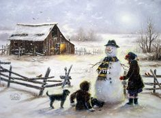 Snowman and Two Girls Art Print snowman by VickieWadeFineArt