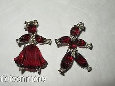 Vintage Crown Trifari Pom Pom Tom Tom Rag Doll Poured Glass Pair Brooch Pin Set | eBay