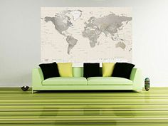 World map wall art stencil from cutting edge stencils looks perfect detailed world map wall decal neutral tones peel stick 62 x gumiabroncs Images