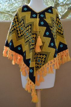 vtg EMBROIDERED thick cotton mexican PONCHO by faintofheartvintage, $55.00