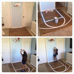 Bedroom Basketball Court, half court, kids room ideas, diy, left over laminate flooring, repurpose, girl's room, boy's room, sports room, left over paint, hoops, NBA slam jam,