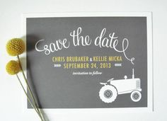 Tractor Save The Date For A Rustic, Farm Or Barn Wedding