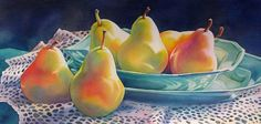 Daily Painters of New York - Contemporary Fine Art International: Pear Still Life Watercolor Painting by Barbara Fox