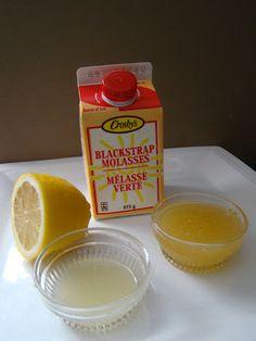Cold remedy drink...honey, lemon juice, blackstrap molasses from blog SweetBakedLove