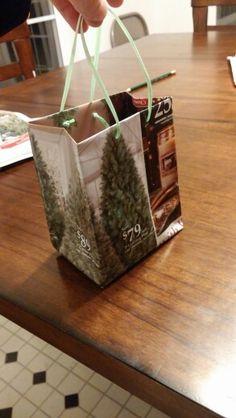 First DIY newspaper gift bag