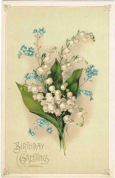1920〜1930年頃のアンティークポストカードです。(スズラン)