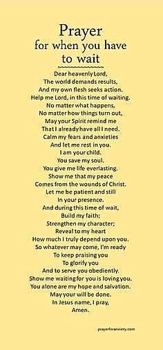 Waiting might be the hardest thing to do. Seek Jesus during this time, and his Spirit will mold your heart. Remember, God is always present and in control. Trust in his timing and his will. Prayer Times, Prayer Scriptures, Bible Prayers, Faith Prayer, God Prayer, Power Of Prayer, Prayer Quotes, Spiritual Quotes, Bible Verses