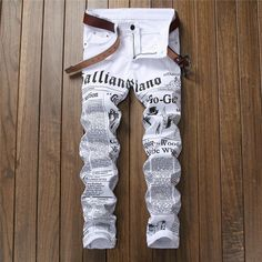 3baae6ef4122 Newspaper letter printed casual slim trousers men jeans 2019 autumn Denim  Pants Classic Cowboys Young Man fashion white jeans