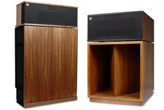 "Klipsch Klipschorn and La Scala loudspeakers, truly legendary all-horn speakers made by Southern gentleman and acoustic genius Paul W. Klipsch. The Klipschorn was first sold in 1947, the La Scala in 1952. Both are still being made. Paul had a wonderful dry humor and a good-natured mischievous streak: he referred to his sketches and drawings as ""his dirty pictures."""