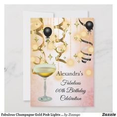 Fabulous Champagne Gold Pink Lights Silver Party Save The Date - invitations personalize custom special event invitation idea style party card cards Gold Birthday Party, Adult Birthday Party, Birthday Party Invitations, Birthday Celebration, Happy Birthday, Save The Date Invitations, Custom Invitations, Invites, Quinceanera Invitations