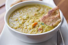 Curried Lentil Soup - with a substitution of vegetable broth, completely vegetarian.