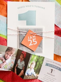 Oh So Beautiful Paper: Oliver's Colorful First Birthday Party Invitations