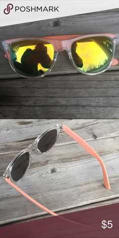 Peach Sunnies Peach sunnies with clear front & tinted lenses.. there's scratches on them as seen in picture. Barely can tell. Can see through them no problem. Still very good condition. No idea the brand. • No Trades. Price is firm. 15% off of bundles of 3 or more • Buckle Accessories Sunglasses