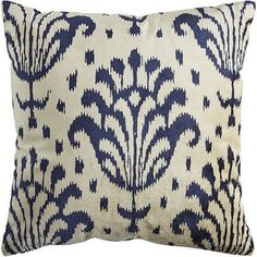 """Printed velvet has a distinct sheen and rich texture that's perfect for pillows. We've covered the front of this design with the pattern, lined it for added body, then backed it with an ivory cotton so it doesn't slip and slide when you sit down. It has a poly insert for comfort and shape. This just might give new meaning to the term """"fine print."""""""