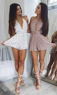 These babes! 💖👯 Our 'Evangeline playsuit in white' (left) with our 'Shine Together playsuit in mocha' (right) ✨ Shop now via the link in our bio 👆 Sexy Outfits, Sexy Dresses, Cute Dresses, Summer Outfits, Girl Outfits, Cute Outfits, Fashion Outfits, Summer Dresses, Elegantes Outfit Frau