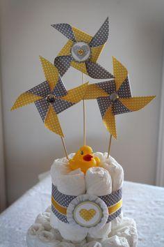 Diaper Cake. grey and yellow baby shower   Materials to make the handmade yellow and grey baby shower decor: