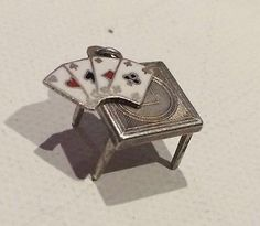 RARE Deco Folding Card Table Enameled Lucky Aces Vintage Sterling Silver Charm | eBay