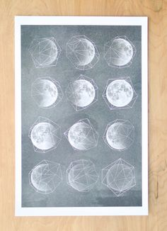 - Nasa shots of the moon with a geometric overlay.   Size - 12x18 inches