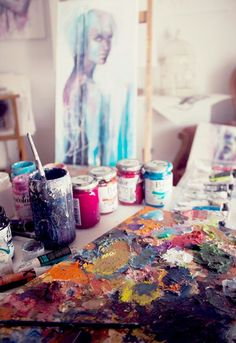 In studio with artist Agnes Cecile. Artist Life, Artist At Work, Agnes Cecile, My Art Studio, Paint Studio, Dream Studio, Graffiti, Artist Aesthetic, Art Studios