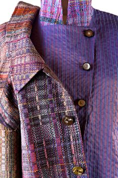 Randall Darwall: handwoven jacket w/vest Description: twill damask weave, hand-dyed warp. silk Dimensions: x x Feet Weaving Textiles, Weaving Art, Weaving Patterns, Hand Weaving, Fabric Weaving, Fashion Shows 2015, Philadelphia Museum Of Art, Weaving Projects, Weaving Techniques