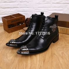 94.50$  Watch now - http://ali30k.worldwells.pw/go.php?t=32773540567 - New Fashion Men Ankle Boots Black Genuine Leather Botas Masculino Spike Pointed Toe Winter Botas Hombre Dress Chaussre Homme  94.50$
