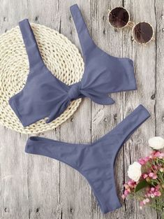 Knotted Padded Thong Bikini Swimwear Women Mid Waisted Solid Scoop Neck Brazilian Swimsuit Beach Wear White Bathing Suit Femme G Push Up Bikini, Bikini Rose, Sport Bikini, Bikini String, Grey Bikini, Bikini 2018, Bikini Jaune, Bikini Bleu, Haut Bikini