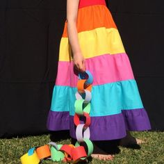 Learn how to make this adorable rainbow maxi dress for your little girl.