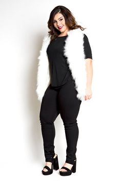 Plus Size Clothing for Women - Jessica Kane Faux Fur Plus Size Vest (Sizes 16 - 22) - Society+ - Society Plus - Buy Online Now! - 1