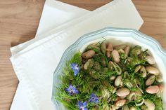 Borlotti bean salad with sweet fennel green - Eat Cook Dine 200 Calories, Bean Salad, How To Squeeze Lemons, Summer Evening, Fennel, The Fresh, Starters, Vegan Vegetarian