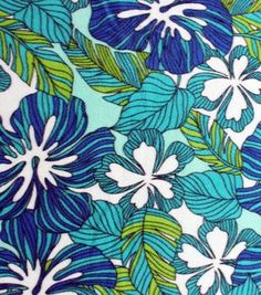 Tropical Fabric- Blue & Green Foliage Fleece