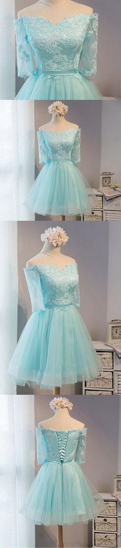 Off shoulder homecoming dresses, Lace homecoming dress, Tiffany blue homecoming dress,short prom dress,PD210201 - Thumbnail 1