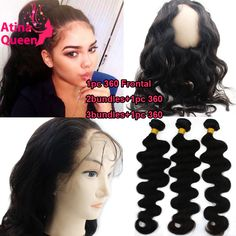 360 Lace Frontal with Bundle with Baby Hair Virgin Human Peruvian Body Wave 360 Closure and Bundles Pre Plucked 360 Frontal Band