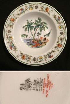 """Black Knight trademark shallow bowl 7"""" by Hutschenreuther. Made for the Hotel Presidente in Habana Cuba. Date 1928."""