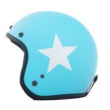 Helm hellblau mit weißem Stern retro für Vespa u.a. Roller Motorrad Größe XS