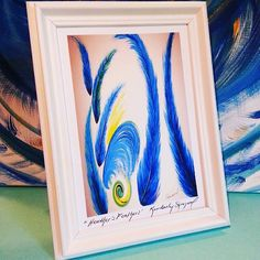 """Frame those greeting cards! My art is primarily painted with acrylics on canvas and my designs are transferred onto beautiful products that I will be selling in my new store, """"The Painted Label."""" COMING SOON! This painting is part of a finished piece, Title: """" Heather's Feather's."""" My customers from #thesouthernwomenshow are the ones who suggested this ingenuous idea of framing cards! How neat is that? Pretty too! #greetingcards #framedart #framedartwork #artworks #artframedecor…"""