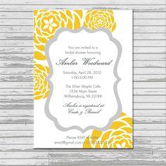 Yellow and Gray Grey Bridal Shower Invitation - customized 5x7 printable - modern flower print yellow and gray bridal shower invites