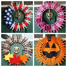 Patriotic Wreath - 4th of July Wreath, Fourth of July Wreath - American Flag Wreath - Veterans Day Wreath - Americana - Stars and Stripes  This charming american flag themed clothespin wreath is an awesome combination of red, white, and blue. The stars and stripes will shine for all of your neighbors to see!  Wreath is approximately 16x16. Includes hidden hanging wire.  Looking for something custom? Please let me know! I am happy to work with you to create something unique for your home…