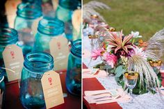 bright poppy and quirkly flowers - Maine Wedding by True Event - custom signage from www.tiethatbindsweddings.com