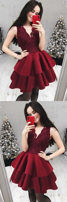 Cheap A-Line V-Neck Tiered Dark Red Homecoming Dress with Lace Top OKB12 #burgundy #tiered #vneck #cheap #lace #homecoming #okdresses