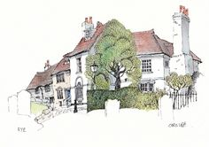 In spired in Sussex Sketch Painting, Watercolor Sketch, Watercolor Paintings, Ink Pen Drawings, Drawing Sketches, Drawing Tips, Building Illustration, Illustration Art, Chris Lee