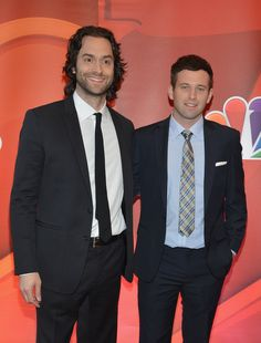 Actors Chris D'Elia and Brent Morin attend 2013 NBC Upfront Presentation Red Carpet Event at Radio City Music Hall on May 13, 2013 in NYC