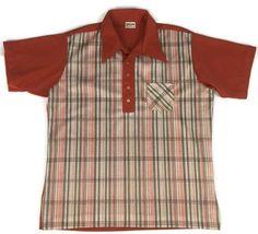 1970s Bowling Shirt Polo by King Louie Creations Orange Plaid Pullover Size XL #KingLouieCreations #BowlingPolo #Bowling