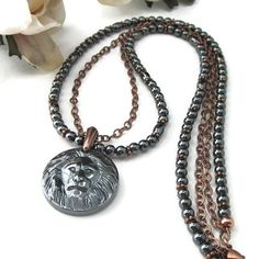 Hematite And Copper Beaded Great Spirit Lion Head Pendant Necklace | TheSingingBeader - Jewelry on ArtFire
