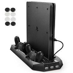 Pecham Vertical Stand for PS4 Slim / PS4 with Cooling Fan Dual Controller Charging Station 3 Extra USB Port - Black