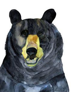 This is a high quality print printed on quality, heavy paper. 11 x 14 inch  $16.00                    #bear #animal #woodland #black #art #hamj #heavenlycreaturesart #etsy #print #watercolor