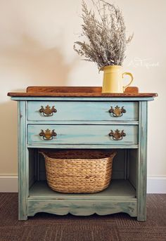 Vintage Washstand brought back to life. Chalk Painted and Stained. Shabby Chic
