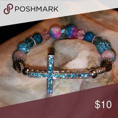 Rhinestone and Crystal Bracelet Turquoise and Silver Bracelet Honeylambjewelry.com Jewelry Bracelets
