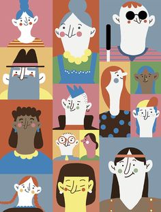 Social inclusion by Paulina Morgan, via Behance Art And Illustration, People Illustration, Portrait Illustration, Illustrations And Posters, Character Illustration, Graphic Design Illustration, Character Sketches, Cute Art, Graffiti