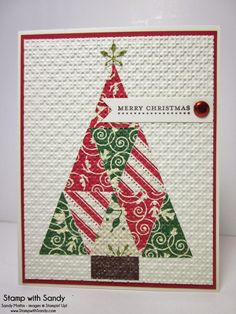 SU! Petite Pennants punch used to cut pieces of DSP; Square Lattice embossing folder - Sandy Mathis